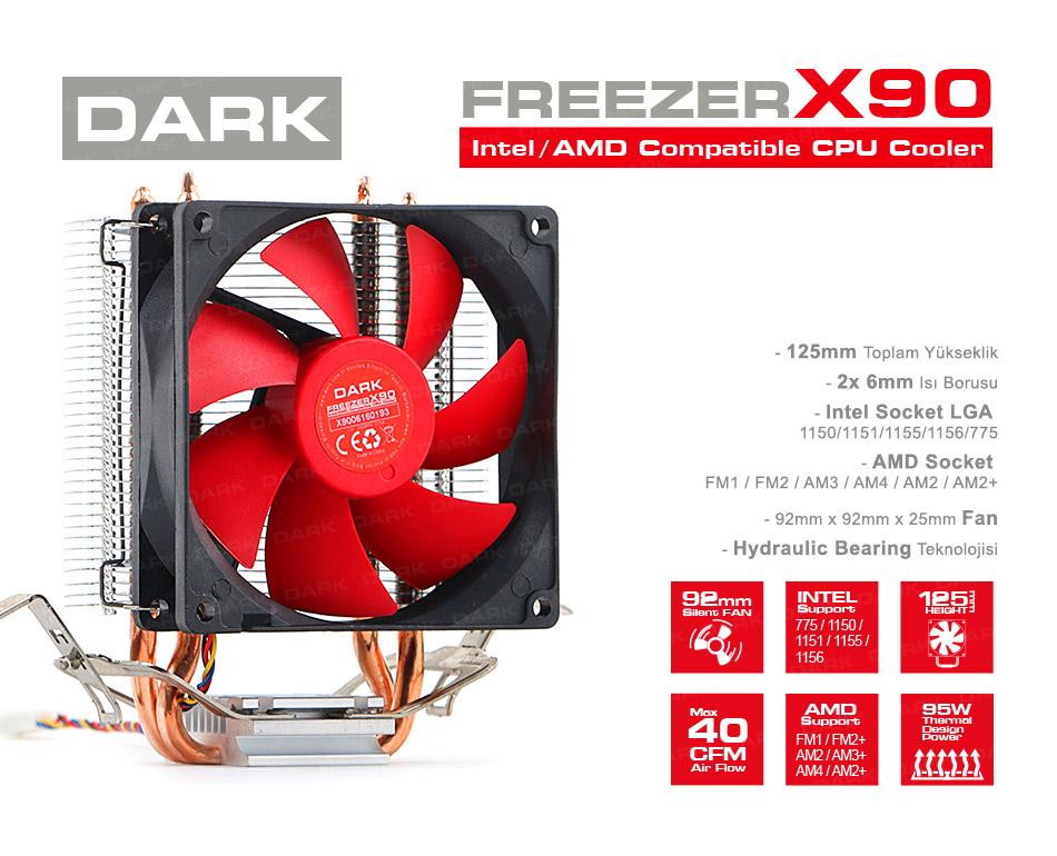 Dark Freezer X90, 92mm 4pin PWM Fan, 2x Heat Pipe, Direct