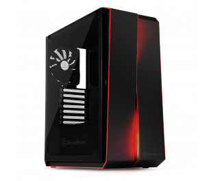 Silverstone Redline RL07B Tempered Glass Şeffaf Cam Kırmızı Led Midi Tower Siyah Kasa