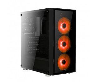 Aerocool Quartz USB 3.0 Kırmızı Led Fanlı ve Güçlendirilmiş Camlı Siyah ATX Oyuncu Kasası
