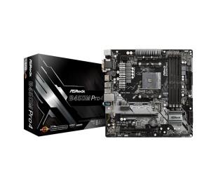 ASRock B450M Pro4, 1x PCIeX16 (Gen3.0), 1x PCIeX16 (Gen2.0),1xPCIeX1 (Gen2),4x DDR4 3200+(OC), 1x Ultra M.2 (PCIeX4 Gen3), 1x M.2 (SATA3), 4x SATA3, 2x USB3.1 Gen2 (Type A+ Type C), 6x USB3.1 Gen1(2x Ön Panel, 4x Arka Panel) AMD AM4 Micro ATX Anakart