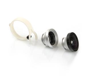 Dark 3in1 Universal Klip Geniş Açı / Makro / Balık Gözü Lens Kiti (Gümüş)