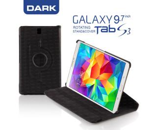 """Dark Samsung Tab S3 9.7"""" Tab S3 360° Döner Siyah Kılıf"""