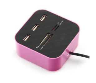 Dark UCR202 USB MicroSD/SD/MMC/M2/MS PRO DUO Kart Okuyuculu USB Çoklayıcı (Pembe)