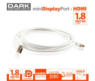 Dark 1.8 Metre Mini DisplayPort - HDMI Kablo (Altın Uçlu 2160P)