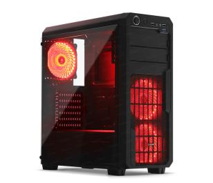 Dark Sentinel PRO 750W 80+ Bronze 3x Kırmızı 33x LED Fanlı, USB3.0, Cam Yan Panel Mid-Tower Siyah Oyuncu Kasası