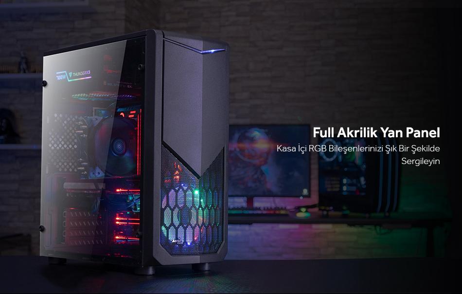 Aerocool Tomahawk-A1 1 x 12cm FRGB Fanlı Midi Tower Siyah ATX Kasa