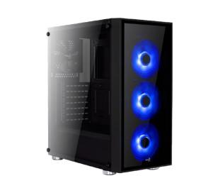 Aerocool Quartz Blue 500W 80+ Bronze USB 3.0 Mavi Led Fanlı ve Güçlendirilmiş Camlı Siyah ATX Oyuncu Kasası