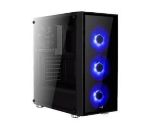Aerocool Quartz 500W 80+ Bronze USB 3.0 Mavi Led Fanlı ve Güçlendirilmiş Camlı Siyah ATX Oyuncu Kasası