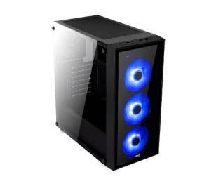Aerocool Quartz 650W 80+ Gold USB 3.0 Mavi Led Fanlı ve Güçlendirilmiş Camlı Siyah ATX Oyuncu Kasası