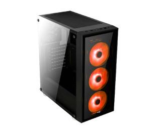 Aerocool Quartz Red 750W USB 3.0 Kırmızı Led Fanlı ve Güçlendirilmiş Camlı Siyah ATX Oyuncu Kasası