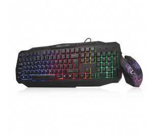 Dark Force Oyuncu USB Kablolu Işıklı Türkçe Q Klavye Mouse Set - Siyah
