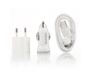 Dark Power Master Apple 30pin Kablolu 5V/1A Ev-Araç Şarj Cihazı Kiti