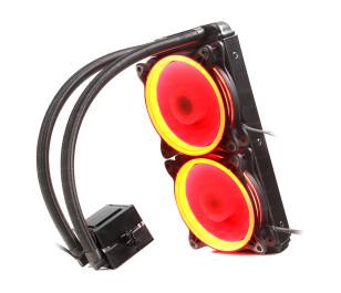 Dark AquaForce W242R Intel 775/1156/1155/1150/1151/2011/2066/1366 AM2/AM2+/AM3/AM3+/AM4 Uyumlu Çift Fanlı 240mm Kırmızı LED'li Sıvı Soğutma Sistemi