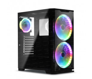 Dark Prestige 700W 80+ 2x20cm, 1x12cm RGB LED Fan, USB 3.0 Temperli Cam ATX Oyuncu Kasası ( Yeni )