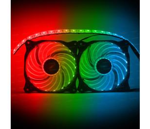 Dark Ultra Bright RGB Multi LED Fan ve Şerit Kit (2x120mm Fan ve 35cm LED Şerit)