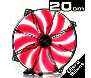 Aerocool Silent MASTER Serisi 20cm Kırmızı LED'li Sessiz Kasa Fanı
