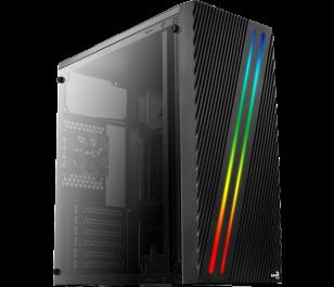 Aerocool Streak RGB Full Acrylic 500W Midi Tower Siyah Kasa